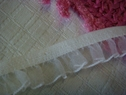 1Y Off-White Organza Elastic Ruffled Trim 5/8 W