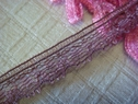 1Y Pale Burgundy Scalloped Narrow Lace Trim 1/4 W L1-5