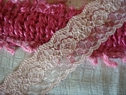 1Y Peach Floral Double Scalloped Lace Trim 1 3/8 W L1-1