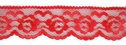 1Y Red Floral Scallop Lace Trim 1 1/8 W