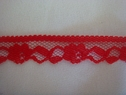 1Y Narrow Red Floral Scalloped Lace Trim 1/2 WL7-8