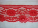 1Y Red Floral Scalloped Lace Trim 2 5/8 W