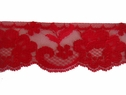 1Y Red Scalloped Floral Lace Trim 2 1/4 W L8-2