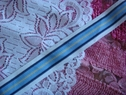 1Y Striped Nylon Mesh Ribbon Trim w/ Baby Blue, Navy Blue, Soft Yellow and White Stripes 1 inch