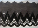 Unique Black  AND White Mesh Embroidered Scalloped Trim 4 7/8 W