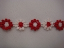 1Y Venice Daisy White Red Lace Trim 1/2 W