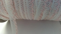 1Y White and Pink reembroidered  Scalloped Narrow Lace Trim 1/2 WL2-6