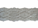 1Y White Double Scalloped Embossed 3D Floral Lace Trim 2 1/4 W   L7-5