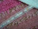 1Y White Pink Floral Ribbon w/ Silver Sequins 5/8 W