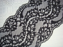 1Y Wide Black Floral Scalloped Lace Trim 5 W   L7-3