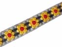 1y yellow sunflower red black white checkered jacquard ribbon 3/4 inch wide
