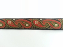 1yd Jaquard paisley ribbon black forest green rusted orange trim 3/4  w