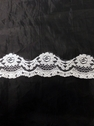 yard white floral poly lace trim 2 in L8-1a