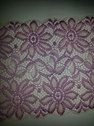 2 tone stretch 3 d embossed floral lilac ivory double scalloped wide lace trim 6 1/8