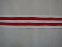 Y White and Red Stripped Ribbon Polyester 1 1/4 w
