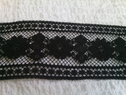 1 yard wholesale   black 3 D  poly  lace trim with floral design 2 inch L9-4