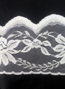2 yard White / Black Floral Poly lace trim 5 inch
