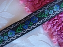 1 yard of Black white green blue flower jacquard ribbon trim 5/8  wide