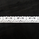 Stretch Lace Black White Stretch trim Floral Design 1/2 inch Wide