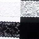 Stretch Lace Black White Stretch trim Floral Design 2 1/2 in Wide S5-0