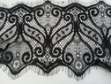 3 yards black eyelash double scalloped gorgeous lace trim 4.75