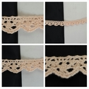 Narrow pale peach scalloped edge croceht trim 7/16 inch wide.