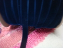 1 yard of navy blue color velvet ribbon trim. 9/16 w