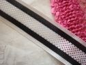 1Y Black and white Stripe mesh Ribbon Trim 1 7/16 W