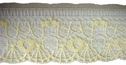 1 Yard  Delicate Yellow Floral Scalloped Poly Lace Trim 1 W