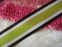 1Y Lime White Black Stripe Ribbon trim 1 1/2 W
