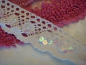 5Y White Crochet Scalloped Lace Trim with Sequins and Pearls 1 5/8 W