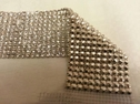 8 Row Handmade Rhinestone Mesh Trimming  crystal stone, silver claw white thread 1 feet