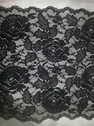 Black wide stretch lace double scalloped trim 8.5  S6-box