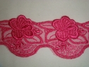 Embroidered Hot Pink Floral Tulle Lace Trim 1 7/8in