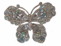 Iridescent Rhinestone Silver Tone Butterfly Brooch Pin 1 1/2 x 1 1/4 Great Gift