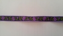 Jacquard midnight blue with purple flower and olive leaves 1/2 inch