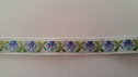 Jacquard white daisy flower navy and blue with sage lime leaves trim 1/2 inch