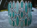 Light and dark turquoise oval beads and clear cubic zirconium high fashion bracelet GREAT mother's day gift