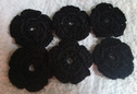 lot of 6 pieces of black scalloped crochet clunny flowers applique 1 1/2 inch