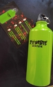 Neon Green 600 ml Aluminum Zombie sport  Water Bottle with Carabiner clip attaches bottle to backpack, keys
