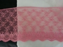 pink poly lace floral double scalloped lace trim 6.5 wide L4-6