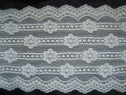 Pure white Stretch Strip floral  Double scalloped wide lace trim 5 3/4 S-7-2