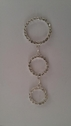 Rhinestone silver hoop dangling applique for jewelry or sew on