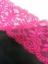 stretch rose flower fuchsia lace tim double scalloped 3.5 inch S9-1