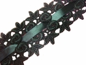 venice Venise black  satin ribbon insert rose bud Lace trim 2 3/8