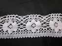 White crochet cluny lace polyster double scalloped lace trim 2 inch wide.