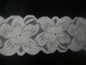 white floral stretch SHINY  lace trim 2 7/8 inch wide double scalloped trim S4-1