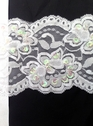 White Floral Stretch Sequin Scalloped Lace Trim 3/4 in