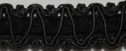 Wholesale 1Y Black gimp trim with black velvet insert 1/2