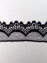 Wholesale  black white  poly scalloped lace trim 1 3/4 in L4-1